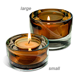 Brown Glass Tea Light Candle Holder