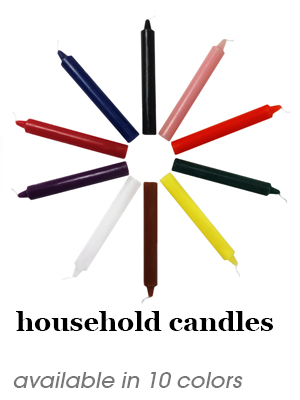 household candles - available in 10 colors