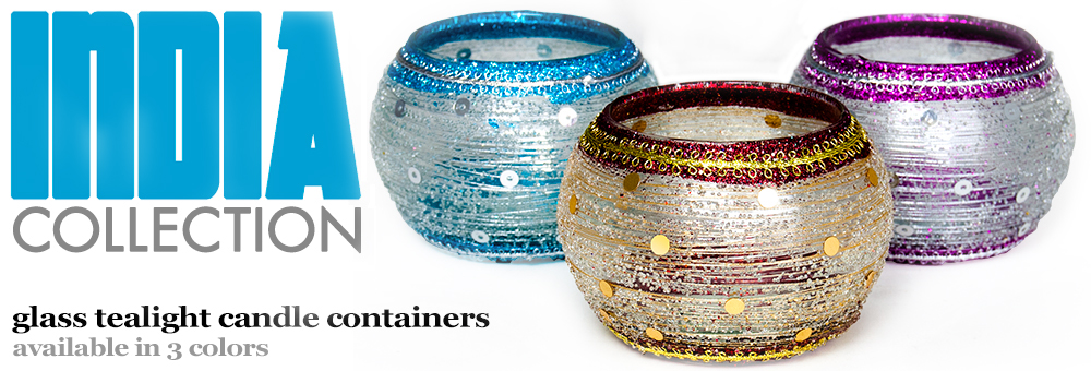 India Collection  Glass Tealight Candle Containers