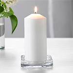 "3"" Square Glass Pillar Candle Holder"